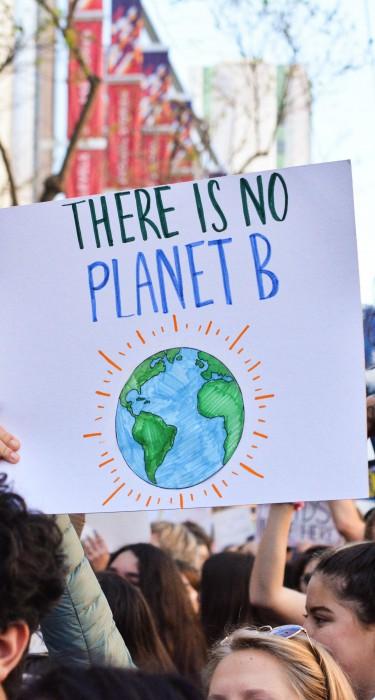 """Demonstrationszug, im Fokus ein Plakat mit der Aufschrift """"There is no Planet B"""" mit einer Erde abgebildet"""